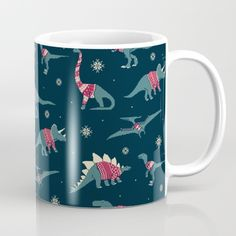 Dinos In Sweaters Mug by Teo Zirinis. Worldwide shipping available at Society6.com. Just one of millions of high quality products available.
