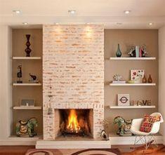 A Lenha, Gás, Etanol, Elétrica e Metálica! Style At Home, Old Style House, Home Fireplace, Fireplace Design, Fireplaces, Home Living Room, Living Room Decor, House Siding, Great Rooms