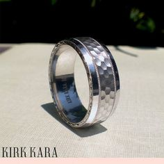 Kirk Kara men's wedding band from the Artin collection | white gold | platinum | detailed men's band | artful men's band | hand engraved men's band | kirkkara.com |