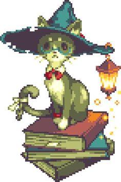 Wizard cat sitting on a pile of books Faire Du Pixel Art, Modele Pixel, Illustrations, Illustration Art, Character Art, Character Design, Cool Pixel Art, Pixel Characters, 8 Bit Art