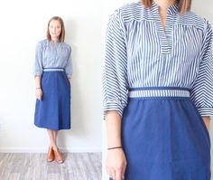 Vintage Boho blue mod striped dress // modest by BeigeVintageCo