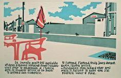 Les pigeons Linogravure Le Pigeon, Juliette, Tote Bags, Artwork, Home Decor, Urban Landscape, Lino Prints, Landscapes, Impressionism