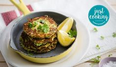 As cooked by Justine Drake on Just Cooking Season 2 episode Lactose Free Recipes, Low Carb Recipes, Baking Recipes, Recipe Search, Just Cooking, Vegetarian Cooking, Fritters, Salmon Burgers, Drake
