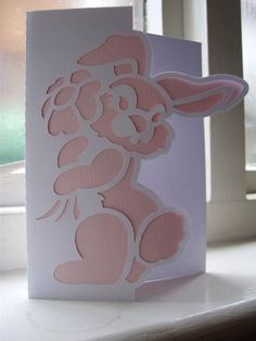EASTER BUNNY 2 OVER THE EDGE CARD SVG on Craftsuprint designed by Clive Couter - svg version of my gsd over the edge card (with optional backing plate) - Now available for download!
