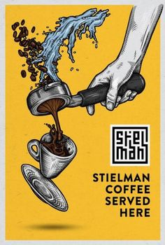 Illustration and poster design for Stielman coffee by Ralf van de Kerkhof / resu . - Illustration and poster design for Stielman coffee by Ralf van de Kerkhof / resuk.nl old illustrat - Coffee Menu, Coffee Poster, Coffee Cafe, Coffee Break, Night Coffee, Espresso Coffee, Starbucks Coffee, Hot Coffee, Coffee Shop Logo