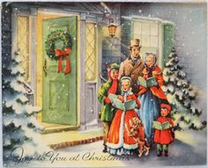 676 50s Carolers AT THE Front Door Vintage Christmas Greeting Card | eBay