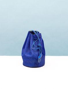 Baggu Drawstring Sack- Blue Pony Hair