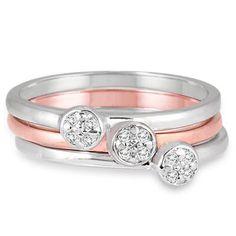 1/10 Carat Diamond Stackable Rings in .925 Sterling Silver
