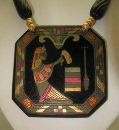 Egyptian Revival Celluloid Pendant Necklace