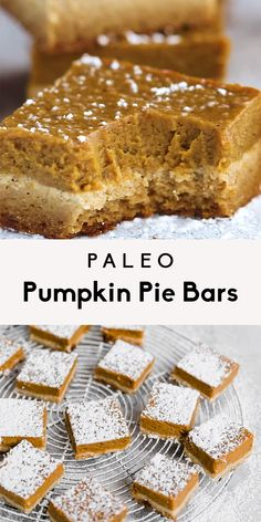Beautiful healthy paleo pumpkin pie bars with an almond flour 'sugar cookie' crust. Easy to make and a great healthy thanksgiving treat! bar Paleo Pumpkin Pie Bars with Almond Flour Sugar Cookie Crust Paleo Pumpkin Pie, Healthy Pumpkin Pies, Pumpkin Pie Bars, Paleo Pecan Pie, Paleo Bars, Paleo Bread, Paleo Recipes, Dessert Recipes, Healthy Fall Recipes