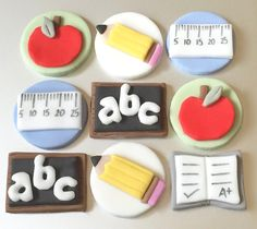 9 x edible icing Teacher tutor School themed cupcake toppers cake decorations by ACupfulofCake on Etsy