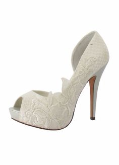"""Mariana"" embroidered lace D'Orsay pump by Menbur at David's Bridal. Lace wedding shoes."