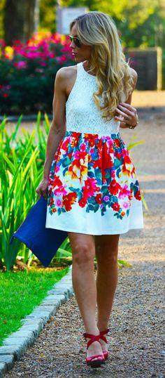 Flora Print Dress via lulus.com
