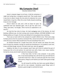 My Computer Died Fourth Grade Reading Comprehension Worksheet