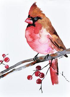 ORIGINAL Watercolor bird painting - Christmas Cardinal 6x8 inch Bird illustration