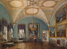 Winter Palace - The First Room of the War Gallery - Edward Petrovich Hau - Drawings, Prints and Painting from Hermitage Museum