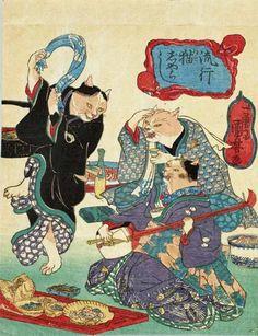 Dancing Cats by Utagawa Kuniyoshi 歌川国芳