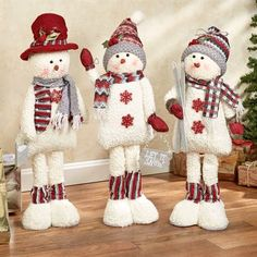 Cheerful Snowmen Standing Figures Ivory Set of Three Christmas Gnome, Christmas Sewing, Primitive Christmas, Christmas Projects, Christmas Stockings, Christmas Wreaths, Christmas Ornaments, Snowman Tree Topper, Snowman Decorations