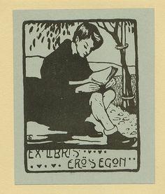 Ex Libris ~ Eros Egon ~ Signed with unidentified monogram in lower left ~ Pratt Institute