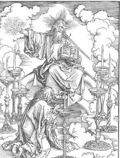 The Vision of The Seven Candlesticks from the 'Apocalypse' or 'The Revelations of St. John the Divine' by Albrecht Dürer, 1498 Woodcut x cm Private Collection Albrecht Durer, Canvas Art, Canvas Prints, Art Prints, Apocalypse, Chandeliers, Renaissance, Johannes, Saint John