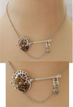 Silver Steampunk Key & Gears Strand Necklace Jewelry Handmade NEW Adjustable  #Handmade #Pendant
