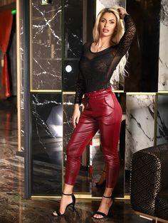 Pantaloni Shine D589-02 , pantaloni piele , pantaloni casual , leather , body , body dantela, body sexy , tinuta casual , slay , glow , glam , fashion , ootd Leather Dresses, Leather Pants, Samurai Artwork, Shinee, Body, Plastic, Spandex, Fashion, Trousers