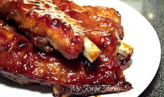 Easy Oven Luau Ribs | This is one of those rare recipes that make you do a happy dance after you taste it! I was shown this recipe by a foodie friend named Michelle Conner! She found this recipe in an  old 1979 cookbook put out by the American Martyrs Catholic church in Manhattan Beach, Ca....called 'Recipes and Remembrances'. | From: myrecipejourney-lillian.blogspot.com