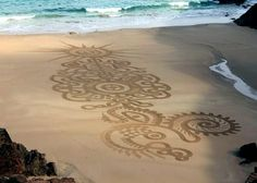 beach art with a rake at Beach Art World Championships, Island of Jersey, France