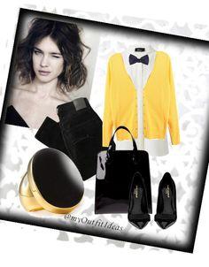 Bright yellow cardigan and Alexander McQueen bow tie for women. Estilo Boyish, Classy Outfits, Work Outfits, Women Bow Tie, Yellow Cardigan, All About Fashion, Fashion Forward, Style Me, Winter Fashion