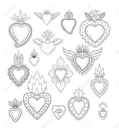 Sacred mexican heart set Stock Vector - can find Mexican art and more on our website. Embroidery Hearts, Embroidery Patterns, Mexican Embroidery, Folk Embroidery, Coeur Tattoo, Tattoo Diy, Tattoo Hand, Sacred Heart Tattoos, Tatoo