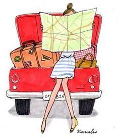 #Travel #Girls #Illustration #Map #Suitcase #Fashion #Summer #Holiday #Vacation