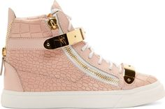 Mid-top leather sneakers in pink. Gold-tone hardware. Embossed with crocodile skin texture throughout. Round toe. White lace-up closure. Tonal logo-stamped patch at padded bellows tongue. Exposed zip closures at either side of eyerow. Zip feature at heel collar. Padded collar. White rubber sole with textured foxing at toe and logo embossed at heel. Tonal stitching.<br><br>Available exclusively at SSENSE.<br><br>