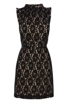 High Neck Lace Skater Dress with Belt |Dress