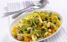 Ταλιατέλες με κοτόπουλο και πιπεριές - iCookGreek Pasta Salad, Thai Red Curry, Meat, Chicken, Ethnic Recipes, Food, Crab Pasta Salad, Essen, Meals
