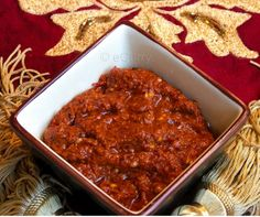 Homemade Harissa: traditional hot sauce with Moroccan & North African food.