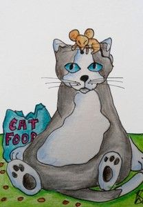 FAT CAT EATS NO MOUSE aceo on ebay