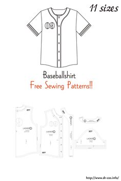 This is the pattern of a Baseball shirt. Shirt Patterns For Women, Mens Shirt Pattern, Jacket Pattern, Sewing Patterns Free, Clothing Patterns, Vogue Patterns, Vintage Patterns, Vintage Sewing, Dress Patterns