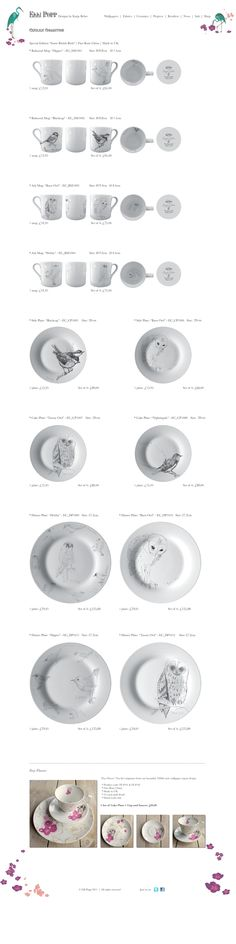 Worth clicking through: Beautiful white dishware with line drawn birds and owls.  *love*