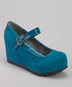 Take a look at this Dollhouse Teal Dolly Platform Mary Jane on zulily today!
