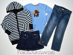 Gymboree Girls Best Friend Hoodie Doggie Top Jeans Skort Set 7-8 6 5 EUC sl1-4 #Gymboree