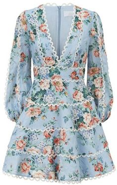 Harrods, designer clothing, luxury gifts and fashion accessories : Zimmermann Bowie Floral Dress Casual Dresses, Short Dresses, Fashion Dresses, Maxi Dresses, Floral Dresses With Sleeves, Girly Outfits, Spring Dresses, Ladies Dress Design, Bowie