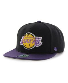 c77e21e367040 Los Angeles Lakers Sure Shot Two Tone Captain Black 47 Brand Adjustable Hat  - Detroit Game Gear
