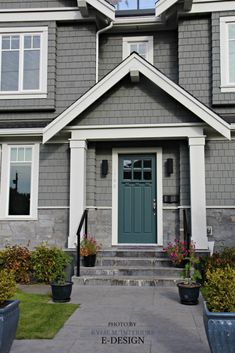 Front door curb appeal, colour similar to Sherwin Williams Riverway. Shingles exterior similar to BEnjamin Moore Chelsea Gray. Kylie M E-design photo Exterior Gray Paint, Front Door Paint Colors, Exterior Color Schemes, Exterior Paint Colors For House, Painted Front Doors, Paint Colors For Home, Exterior Doors, Gray Siding, Paint Colours