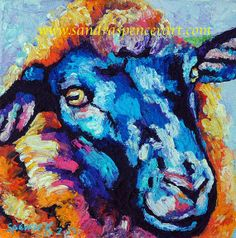 Original Black Sheep Oil Painting 8x8