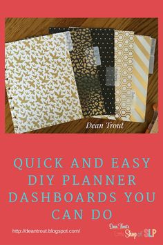 Quick and Easy DIY Planner Dashboards You Can Do.   As promised here is a tutorial for making your own quick and easy planner dividers or da...
