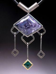 Sterling Silver Pendant with 22 karat gold Emerald by Joyfulcrow