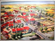 La place du village (affiche scolaire) French Education, French School, School Posters, Illustrations, Vintage Posters, Images, Painting, Beautiful, Recherche Google