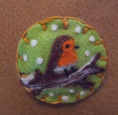 Needle felted brooch, handmade unique gift -robin in the snow