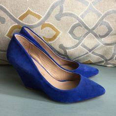 Pour la Victoire Wedges Excellent condition, please refer to photos for condition. Color is a royal blue. Pour la Victoire Shoes Wedges