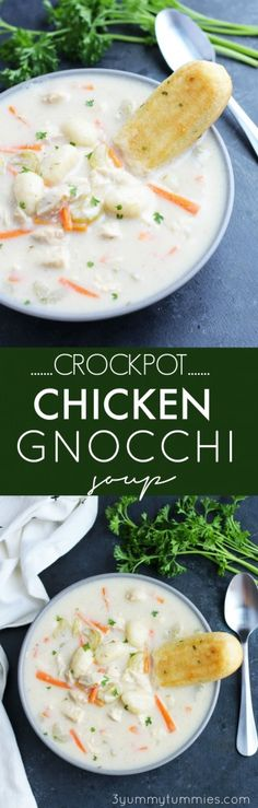 This Crockpot Chicken Gnocchi Soup is super easy with the same great flavors as Olive Garden's recipe with carrots and celery.